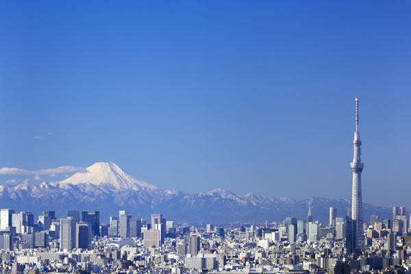 富士山と東京の景色
